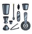 set metal steel barman equipment or help tools