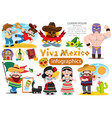 set of characters in cartoon style on mexican vector image