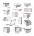 set realistic white boxes for cargo delivery vector image vector image