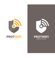 shield and wifi logo combination vector image vector image