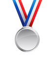 simple elegant silver medal with ribbon vector image