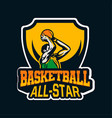 star player doing shot in basketball championship vector image vector image