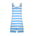 striped retro swimsuit in blue and white design vector image vector image