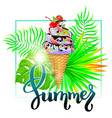summer ice cream composition with tropical leaves vector image vector image