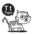 T Tiger cartoon and alphabet for children to vector image vector image