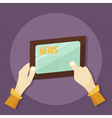 tablet and hands vector image