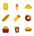 unhealthy food icon set flat style vector image vector image