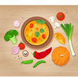 vegetable soup and ingredients on wooden vector image vector image
