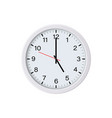white round wall clock showing 5 oclock vector image vector image