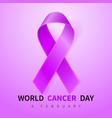 world cancer day symbol 4 february ribbon symbol vector image vector image