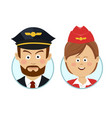 young pilot and beautiful stewardess avatars vector image vector image