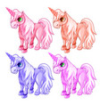 pink and blue unicorns in cartoon style vector image