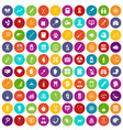 100 diagnostic icons set color vector image vector image