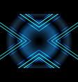 abstract blue neon light arrow pattern on dark vector image vector image