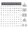 architecture editable line icons 100 set vector image vector image