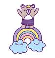 bashower cute bear rainbow clouds cartoon vector image vector image
