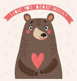 bear cute card with love vector image vector image