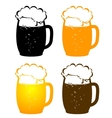 beer mugs with bubbles vector image vector image