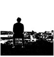 black and white silhouette man sitting alone