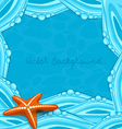 blue background with ocean waves and starfish vector image vector image