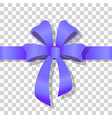 blue holiday bow on transparent background vector image vector image