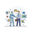 businessmen shake hands with robot virtual vector image vector image