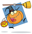 Cartoon Character Halloween Pumkin With A Broom vector image vector image