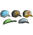 cartoon different cap or hat icon big set vector image