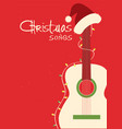 christmas songs guitar and santa hat on red vector image vector image
