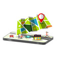 city map app on cellphone isolated on white vector image vector image