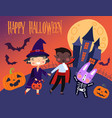 colorful happy halloween card or poster vector image