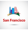 Colorized silhouette of San Francisco USA vector image vector image