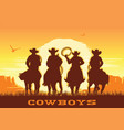 cowboys silhouette riding horses at sunset vector image vector image