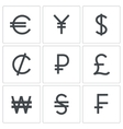Currency icon collection vector image