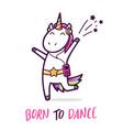 cute dancing unicorn cartoon vector image vector image