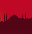 Dark contour Istanbul on a red background vector image vector image