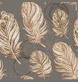 dark vintage seamless background from feathers vector image vector image