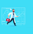 emergency doctor run with medicine box first aid vector image