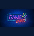 game over neon text sign vector image vector image