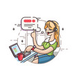 girl operator in call center vector image
