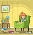girl reading books in living room vector image vector image