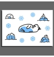 Greeting card template with cute doodle walrus vector image vector image
