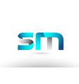 grey blue alphabet letter sm s m logo 3d design vector image vector image