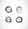 Grunge bursh circle logo set vector image