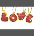 hanging word love vector image vector image