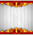 holiday banner on wooden wall with autumn leaves vector image vector image
