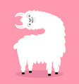 llama alpaca turning head face tongue cute vector image