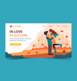loving couple in autumn landing page template vector image vector image