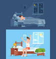man sleeping under duvet at night waking up vector image vector image
