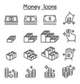 money cash coin currency icon set in thin line vector image vector image